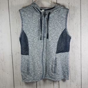 Ideology Hooded Vest Sweater Gray XL